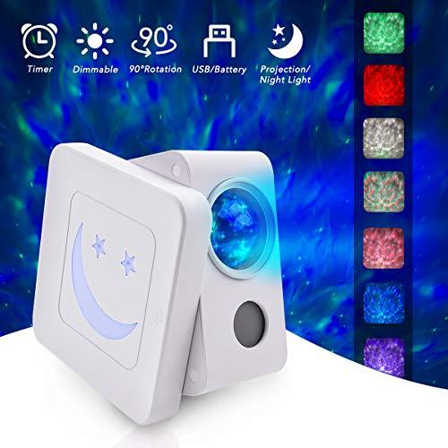 LED Projektor Sternenhimmel Lampe, FOCHEA Sternenhimmel Projektor Nachtlicht mit Starry Stern/Wasserwellen-Welleneffekt/Bluetooth Lautsprecher Perfekt für Baby Kinder Kinderzimmer Party