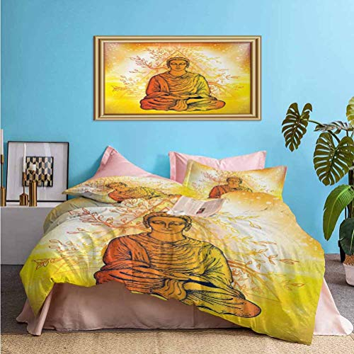 Psychedelic Bedding Duvet Cover 3 Piece Set Meditation under Magic Tree Sacred Hidden Harmony of Universe Relax Image Easy Care, Wrinkle Resistant Orange Yellow | 1 Comforter Cover/2 Pillow Shams Twin