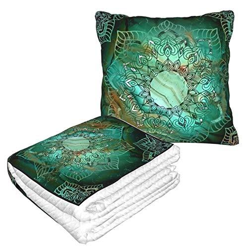 Manta de almohada de terciopelo suave 2 en 1 con bolsa suave hermosa mandala turquesa cobre y tonos plateados funda de almohada para casa, avión, coche, viajes, películas