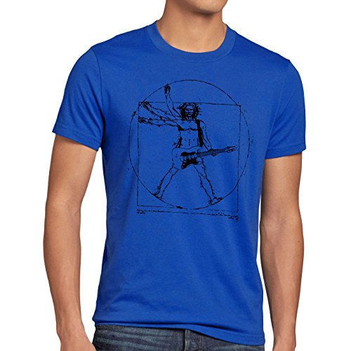 style3 Da Vinci Rock Herren T-Shirt Musik Festival, Größe:XL, Farbe:Blau