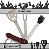 Grown Man BBQ Multi Tool - Includes Stainless Steel Spatula, Fork, Grill Brush, and more - Grilling Multitool for Backyard Grilling, Tailgating, and Camping