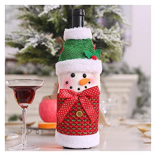 Decoraciones de Navidad Santa Claus Botella de vino Cubiertas Muñeco de nieve Champagne Regalos Bolsas Lentejuelas Inicio Cena Decoraciones de mesa (Color : 13x25cm Snowman)