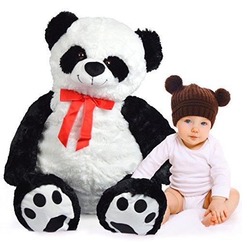Pink Papaya Mega Riesen XXL Kuschel-Bär Panda Pan Tao, 100cm XXL Plüsch-Bär in schwarz-weiß, Stoff-Teddy, Panda-Bär, XXL Plüsch-Teddybär zum Liebhaben Toys