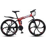 Liu Yu·casa creativa Bicicleta de montaña Plegable de 26' Marco de Acero 21/24/27 Speed, Hombres, Mujeres, niños y niñas, Bicicleta Plegable con suspensión,24speed