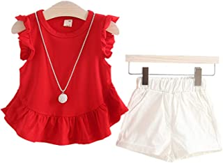 TZOU Girl Children Kids Round Neckline Lace Tops+Solid Color Shorts Two Piece Suit Outfit red 70cm
