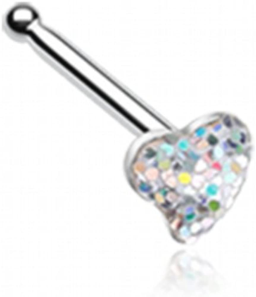WildKlass Jewelry Heart Glitter Sparkle Nose Stud Ring 316L Surgical Steel