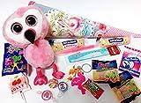 101671 Gefüllte Schultüte 35cm Flamingo Plüsch mit Schulbedarf & Spielsachen zum Schulanfang Abschluss Zuckertüte als Geschenk