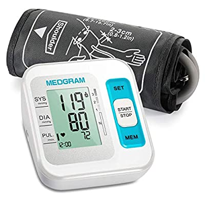 Blood Pressure Machine for Home Use, MEDGRAM Accurate Upper Arm Blood Pressure Monitor with Large Cuff 8.7-15.7 in(22-40 cm), Digital Automatic BP Machine, Large LCD Display, 2×120 Sets Memory