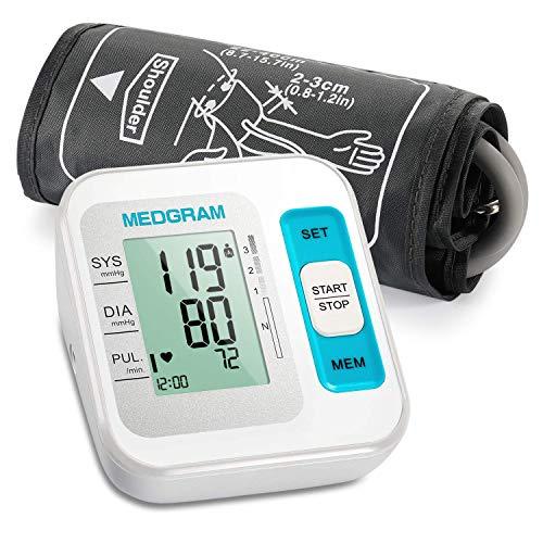Blutdruckmessgerät Oberarm, MEDGRAM Vollautomatisch Blutdruckmessgeräte für Zuhause, Arrhythmie-Erkennung, Einstallbare Manschette 22-40cm Blood Pressure Monitor, 2x120 Speicherplätze, WHO-Ampelsystem