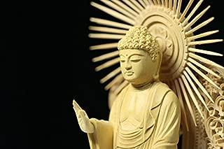 Yamako Buddha-Amitabha Standing Statue Boxwood Hexagonal Pedestal West Type (12.1 H x 4.6 W x 3.3 D inches)