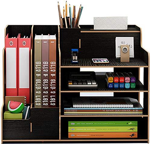 Catekro Caja de almacenamiento de escritorio de gran capacidad Porta bolígrafos/Estantería/Soporte de libros de madera, 39x29x28cm