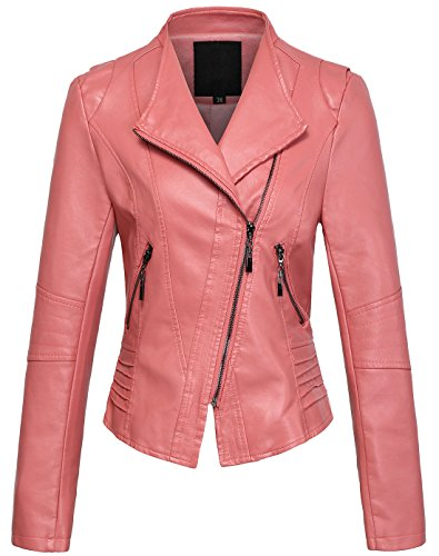 Womens Casual Collarless Cropped PU Leather Pink Biker Jacket