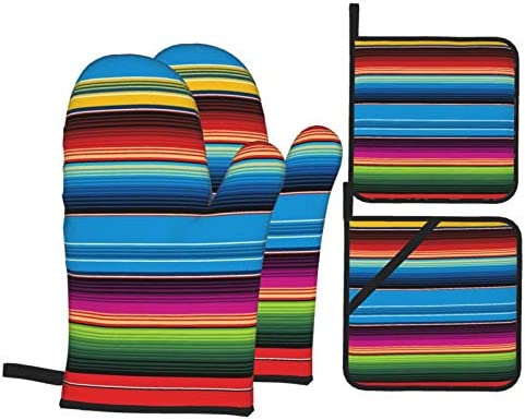 Colorful Mexican Blanket Stripes Interest Oven Mitts and Pot Holders 4pcs Set Kitchen Oven Glove product image