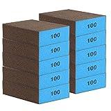 AMIGOB 10 pcs Spugne Abrasive Media 100 per Uso per Sabbiatura a Secco e a Umido, Lavabile e Riutilizzabile, 10x7x2.5cm