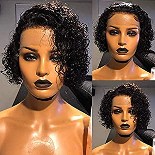 13x4 Lace Front Wigs Pixie Human Hair Wigs for Black Women 150% Density Pixie Cut Bob Wig Pre Plucke (Curly)