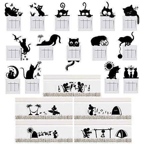 20pcs Pegatinas Pared para Interruptor de Luz Enchufes Rodapié Vinilos Pared Gatos Ratón Stickers Adhesivos Decorativos Habitación Dormitorio Salón