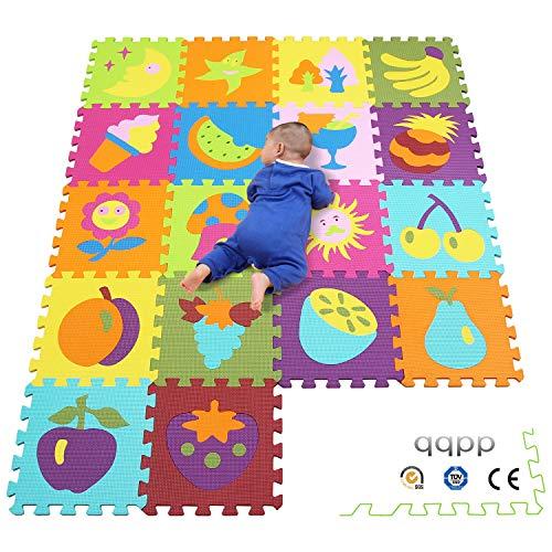 qqpp EVA Puzzle Tapis Mousse Bebe - Idéal pour Les Tapis De Jeux Enfant,18 Dalles(30*30*1cm), Fruit & Nature. QQP-0623b18N