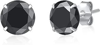 925 Sterling Silver Black Cubic Zirconia 3mm-8mm CZ Stud Earrings Men Women