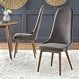 Target Marketing Systems Porto Mid Century Modern Velvet Upholstered High Back Dining Chair, Set of 2, Gray