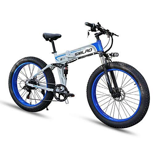 26 Bici Elettrica Pieghevole, Bicicletta Elettrica per Adulto Donna e Uomo, Mountain E-Bike con 1000W Motore + 48V 13AH Batteria agli ioni di Litio Rimovibile+4.0 ruote fat (bianco)