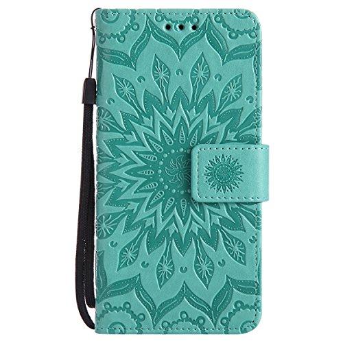 Uposao Kompatibel mit Handyhülle Huawei G Play Mini/Honor 4C Leder Tasche Schutzhülle Handy Tasche Schöne Mandala Blumen Muster Ledertasche Leder Hülle Bookstyle Klapphülle Flip Case Cover,Grün