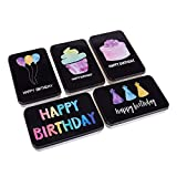 Set of 5 Small Tin Boxes - Small Tin Containers, Happy Birthday Tin Storage Containers for...