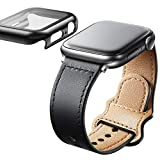 Adepoy Bands Compatible for Apple Watch Band 44mm 42mm 40mm 38mm, Top Grain Leather Apple watch Bands for Man Women iWatch Series 6/5/4/3/2/1/Se, Genuine Leather Strap with Tempered Glass Screen Protector