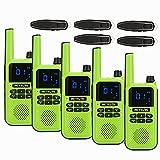 Retevis RA619 Bluetooth Walkie Talkie, Recargable Licencia Libre Copia Inalámbrica, con Auriculares Bluetooth16ch Professional Walkie Talkie para Caza Ciclismo de Montaña (Verde, 5 Pieza)