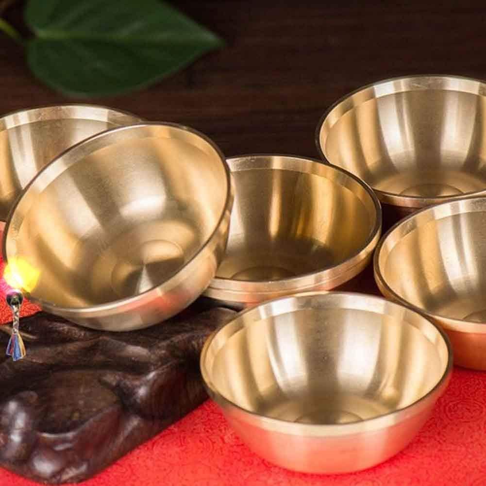 vap26 Cuenco ofrenda Agua 7 Piezas Artesanía Religión sólida Mini Tíbet Suministros budistas tibetanos Decoración del hogar Contenedor Ritual Santuarios divinos Plat Fondo Cobre(Los 6,8cm)