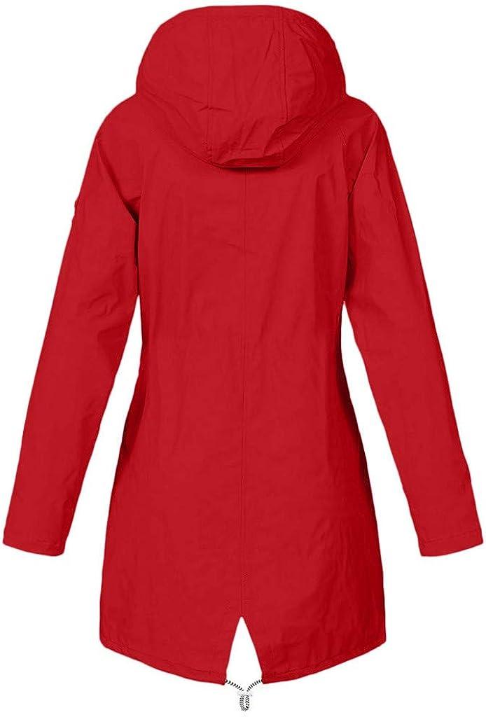 TOWAKM Wasserdichter Kapuzen Regenmantel Damen Solide Regenjacke Freien Winddichte Überzieher Multicolor Multicode Rot-3