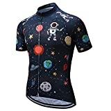 Weimostar Grid - Maillot de ciclismo de manga corta con 3 bolsillos reflectantes, Hombre, A3., Chest For 35.4'-37.8'=Tag M