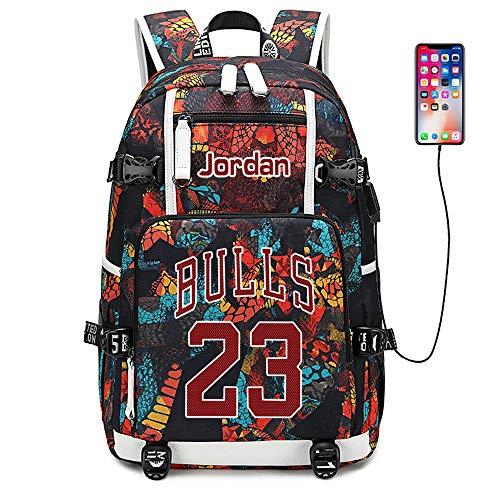 Lorh's store Basketballspieler Star Jordan Multifunktionsrucksack Reisestudent Rucksack Fans Bookbag für Männer Frauen (R-Muster 1)