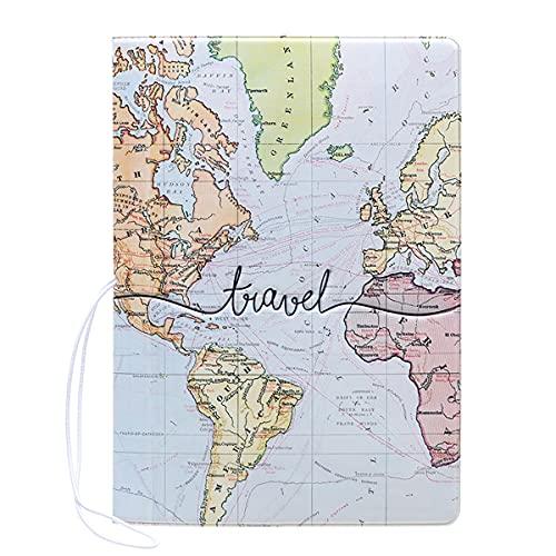 パスポートケース カバー IDケース トラベル 旅行 用品 地図 デザイン 小物 雑貨 かわいい おしゃれ シンプル お揃い 韓国 合成皮革 レディース メンズ(ライトブルー)