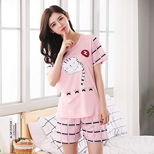 JFCDB Zomer pyjama,Zomer korte mouw dunne print losse nachtkleding meisje pijamas vrije tijd nachtjapon vrouwen vrouwen pyjama sets, x yo chang wei mao, l