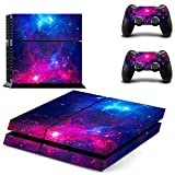 UUShop Purple Blue Galaxy Vinyl Skin Decal Sticker Cover Set for Sony PS4 Console and 2 Dualshock Controllers Skin