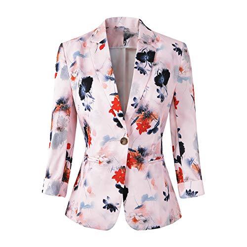 Womens 3/4 Sleeve Lightweight Office Work Suit Jacket Boyfriend Blazer (1905 Pink, S)