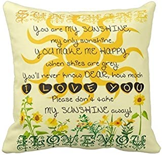 Jidmerrnm 18x18 Inches You are My Sunshine Pillow Fashion Home Decorative Pillowcase Cotton Polyester Pillow Cover Home Sofa Cushion Decorative