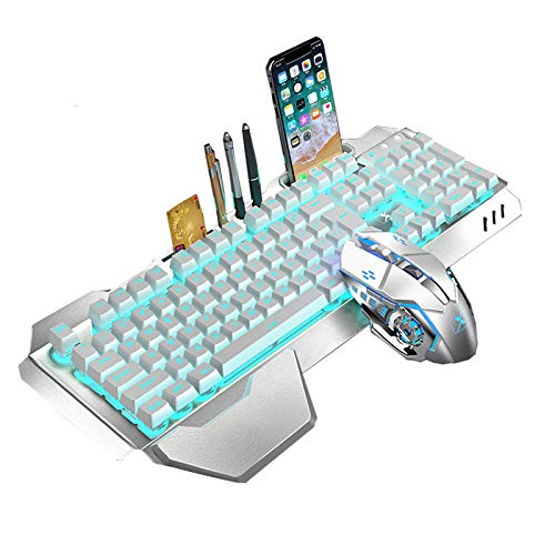 Rechargeable Keyboard Mouse Combo Backlit,2.4G Wireless Gaming Keyboard with Palm Rest,Multimedia,Ergonomic,3000Mah Large Capacity Battery and Adjustable DPI Mouse for Computer,PC,Laptop,Mac (Silver)