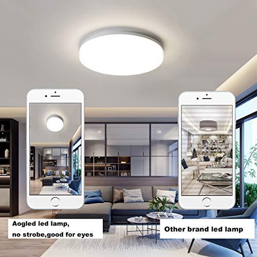 Aogled LED Plafonnier 18W 1800LM Blanc Naturel 4000K Rond 22 CM,Plafonnier Lampe Étanche IP54,180 Angle Lampe de Plafond Pour Salon,Salle de Bain,Chambre,Couloir,Cuisine,Couloir,Pas de Détecteur