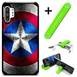 Hybrid Rugged Hard Cover Case Compatible with Galaxy Note 10+ (Plus) - Captain America Metalshield V (with Free Phone Stand Gift!)