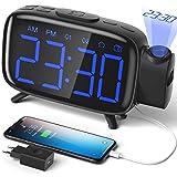 ELEHOT Despertador Digital Proyector Radio Despertador Reloj de Proyección Pantalla LCD Azul y Volumen Ajustable 7 Tonos Función de Radio Alimentación USB(Azul)