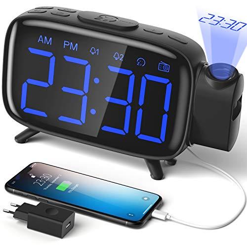 ELEHOT Despertador Digital Proyector Radio Despertador Reloj de Proyección...