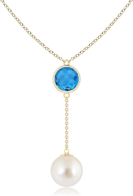 South Sea Cultured Pearl & Swiss Blue Topaz Lariat Necklace (10mm South Sea Cultured Pearl)