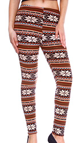 Women's Festive Seasonal Reindeer/Snowflake Patterned Winter Leggings, Color 6