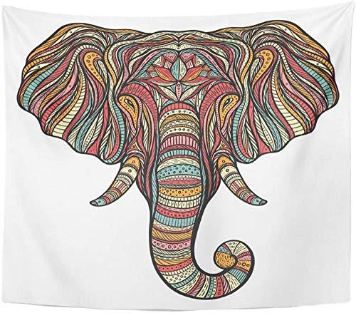 Tapiz Tapiz Abstracto Étnico Boho Elefante Retrato Doodle Animal Ayurveda Tapices Colgante de pared para sala de estar Dormitorio 150x200cm