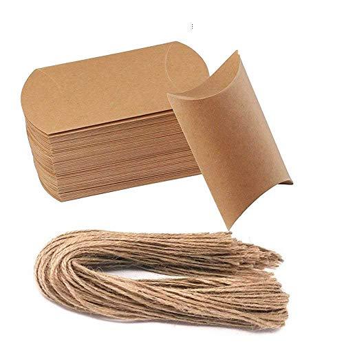 Awtlife 50 cajas de almohada de papel kraft natural vintage para bodas, fiestas, caramelos