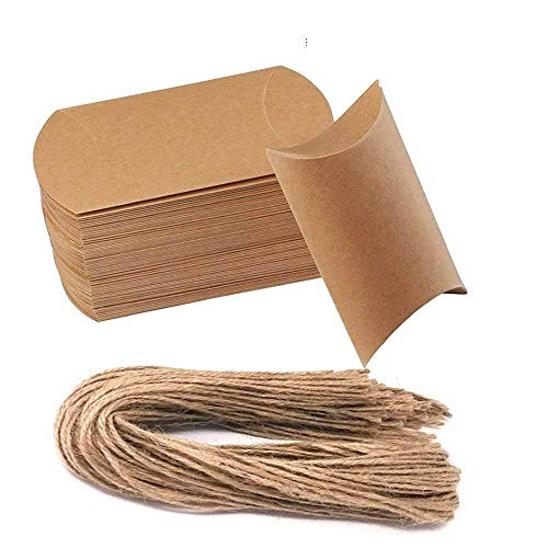 Awtlife 100PCS Cute Kraft Paper Pillow Candy Box with 50pcs Jute Twine for Wedding Party Favor