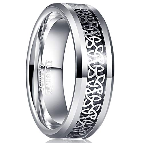MEILING LINGMEI Tungsten Carbide Celtic Ring for Men Silver Celtic Knot Inlay Wedding Engagement Bands Comfort Fit Size 9