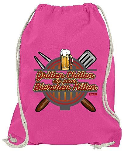 HARIZ Turnbeutel Grillen Chillen Bierchen Killen Grillen Sprüche Plus Geschenkkarten Pink One Size