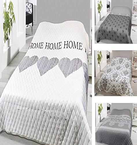 Leonado Vicenti Bettüberwurf 140x210 oder 220x240 Tagesdecke Sofaüberwurf Allzweckdecke wattiert und gesteppt wählbar in modernen Motiven (220 x 240 cm, Weiß Home Herz)